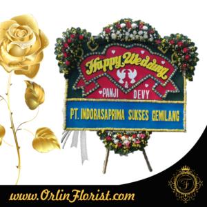 toko bunga papan happy wedding di bekasi