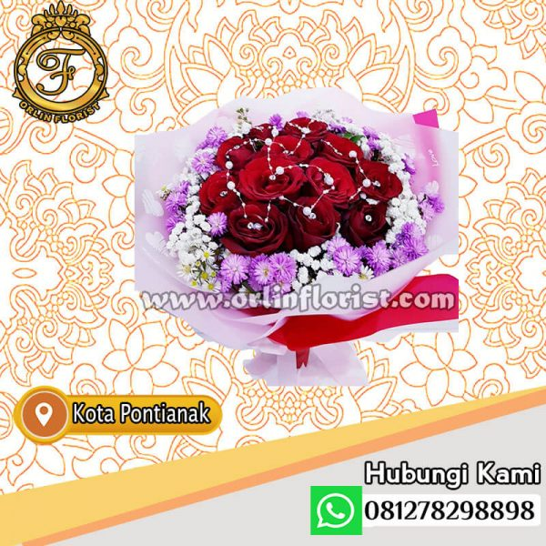 handouquet bunga mawar merah di pontianak