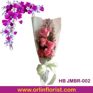 bunga mawar pink 5 tangkai