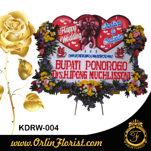 karangan bunga papan ucapan happy wedding di kediri