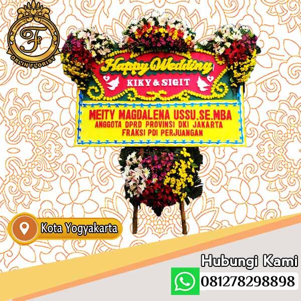 bunga papan happy wedding yogyakarta